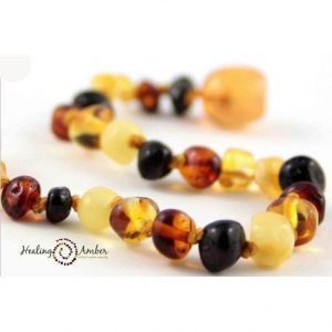 Healing Amber teething anklet multi colour