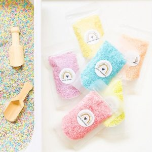 Sensory rice for creative play for kids