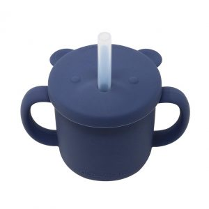 Glitter & Spice silicone straw cup midnight blue