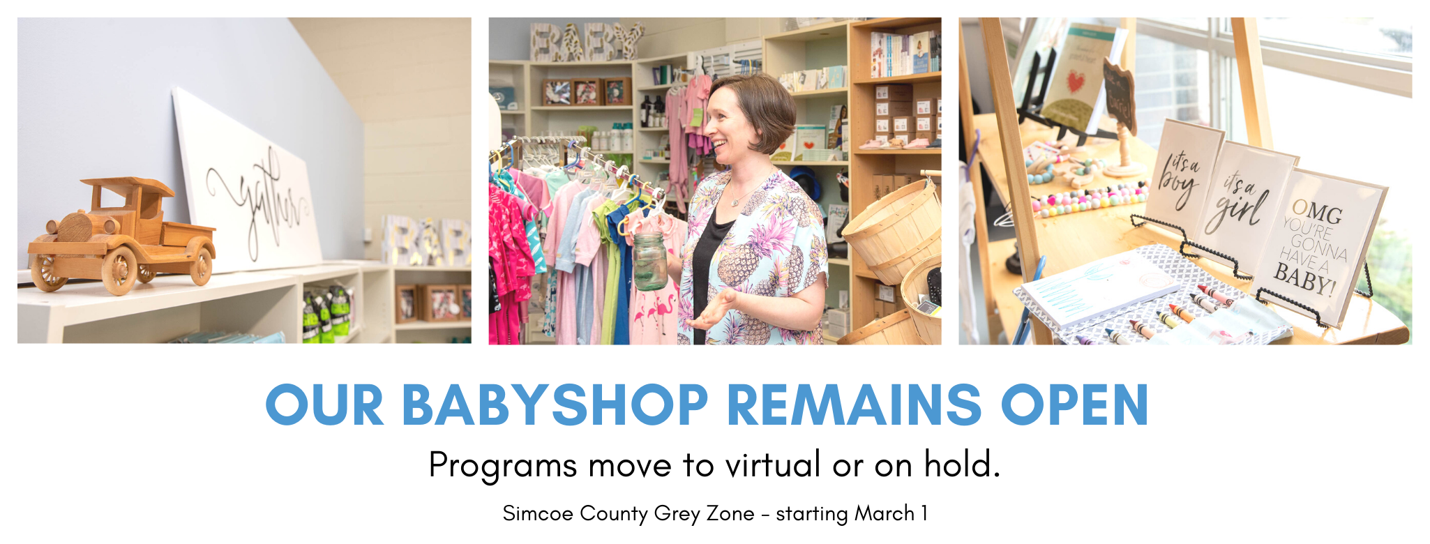 Baby store, prenatal classes, mom and baby classes