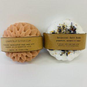 Serenity Birth Studio soap and bath bomb gift box