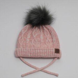 Calikids Knit pom pom hat with string - pink 1