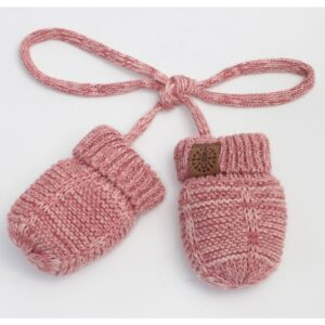 Calikids cotton knit mitten with string for babies and kids